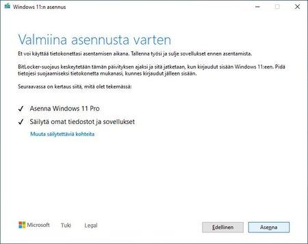 Windows 11 valmiina asentumaan