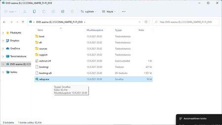 Tuplaklikkaa .iso -tiedoston sisältä löytyvää setup.exe -tiedostoa