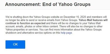 Ilmoitus Yahoo! Groupsin etusivulla