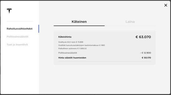 Tesla Model 3 hinta Suomessa