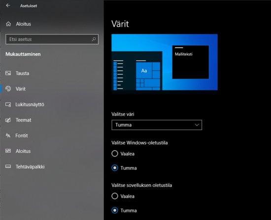 Windows 10 tumma teema onnistuneesti käytössä