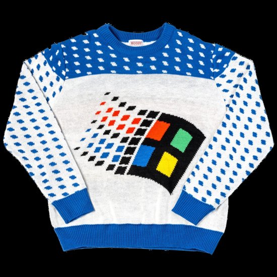 Windows 95 ugly holiday sweater