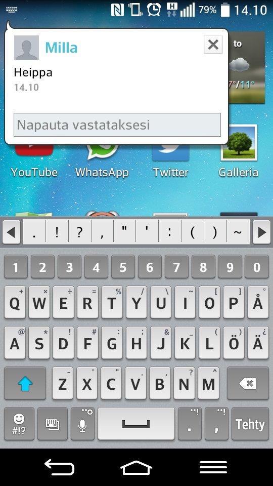 LG G2 Mini SMS in screen