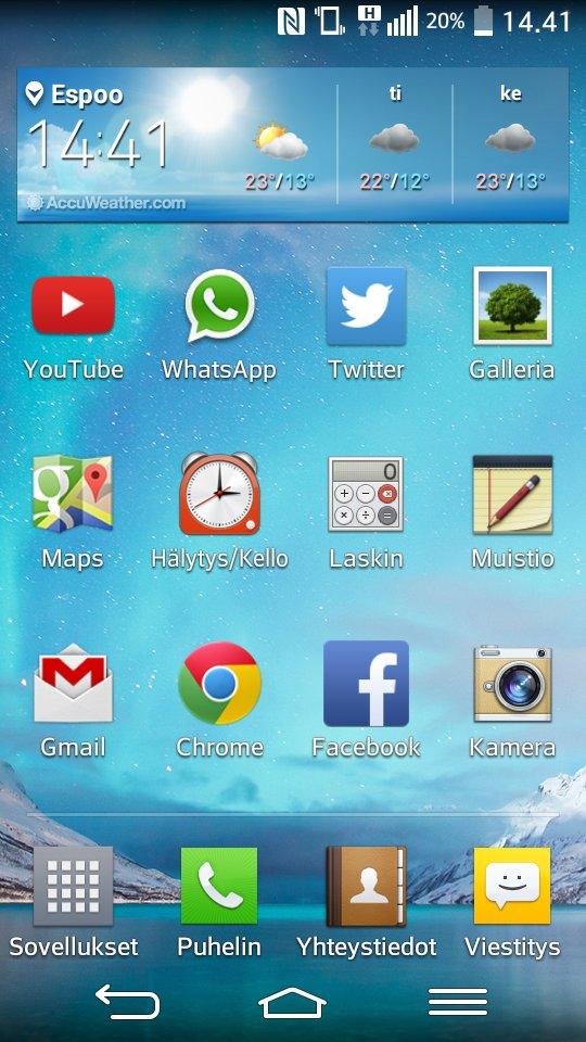LG G2 Mini startscreen