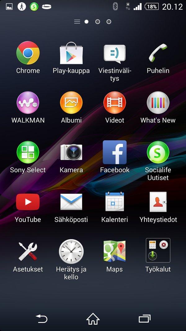 Sony Xperia Z2 arvostelu sovellukset