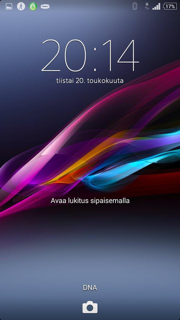 Sony Xperia Z2 arvostelu lukitusnäyttö
