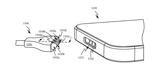 Kuva Applen patentoimasta magneettisesta latausratkaisusta