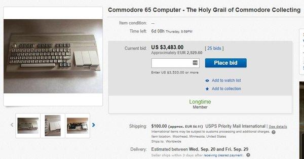 Commodore 65 myynnissä eBayssa syyskuussa 2017