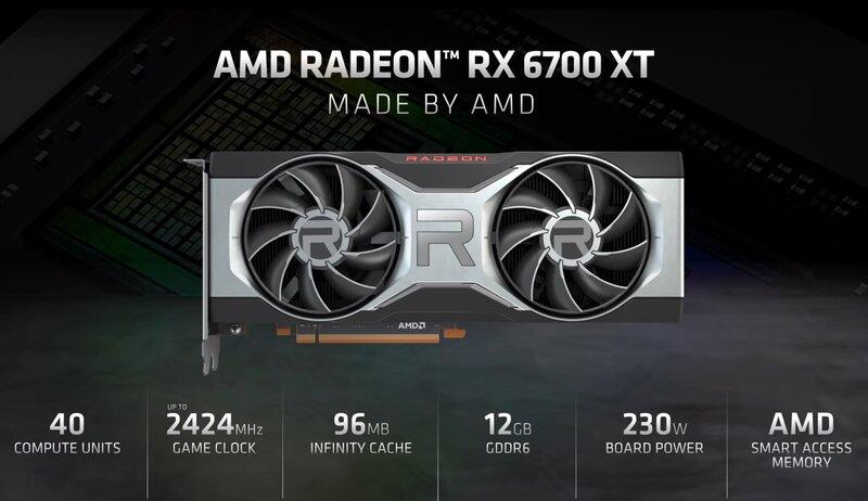 RX 6700 XT kortin keskeisimmät tekniset ominaisuudet