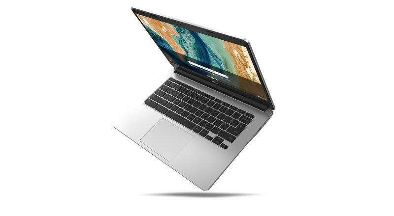 Chromebook 314 kannettavan näyttö osittain avattuna