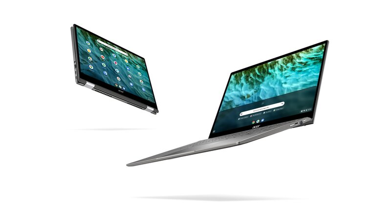 Chromebook Spin 713 näytön saa eri asentoihin