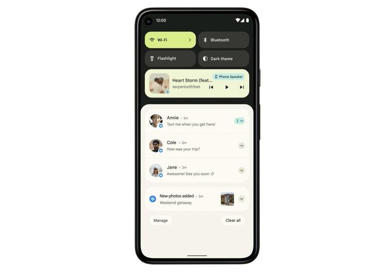 Android 12:n uudistettu ilmoitusnäkymä