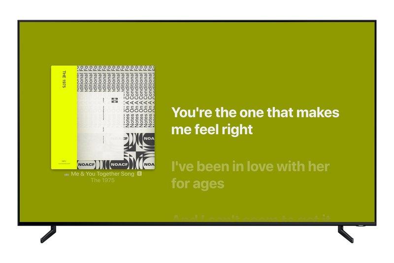 Apple Musicin kappaleiden sanat näkyvät nyt Samsungin älytelevision välityksellä