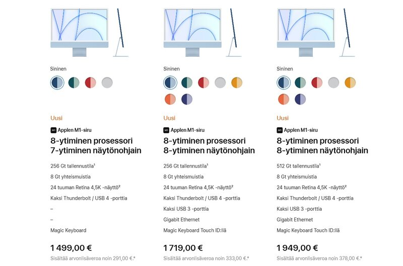 uuden iMacin hinnat suomessa