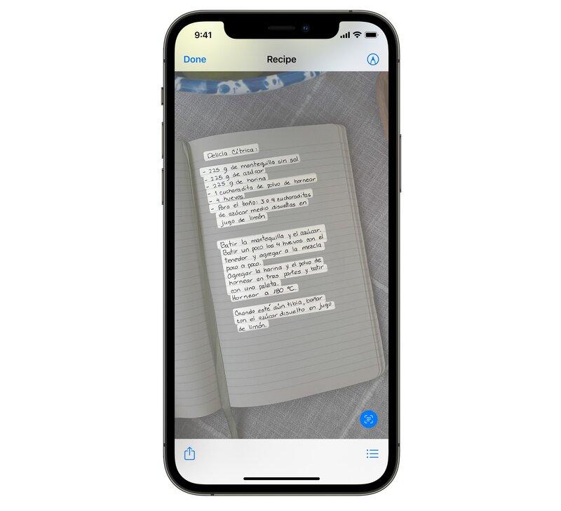 iPhonen kamera tunnistamassa tekstiä kuvasta
