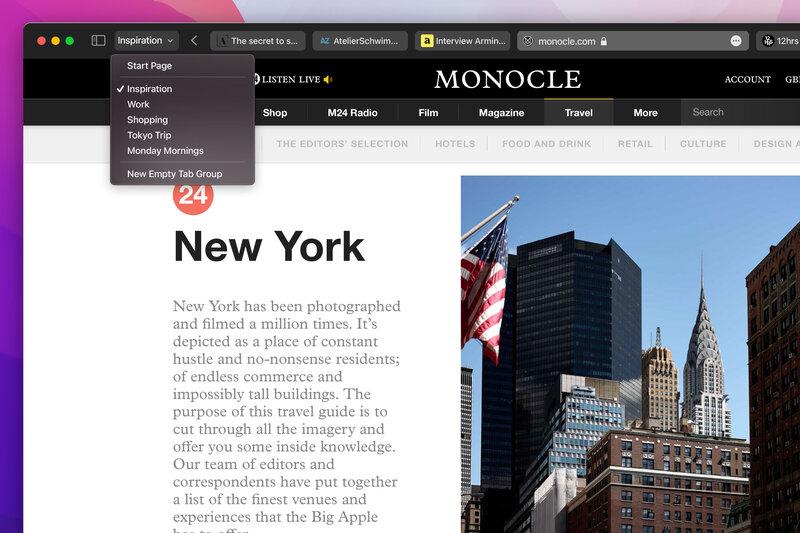 macOS Monterey uudistaa Safari-selaimen välilehdet