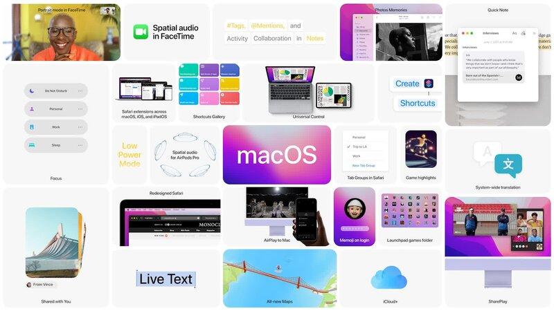 macOS Monterey keskeisimmät ominaisuudet listattuna
