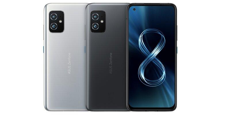 Zenfone 8 kuvattuna edestä ja takaa eri väreissä