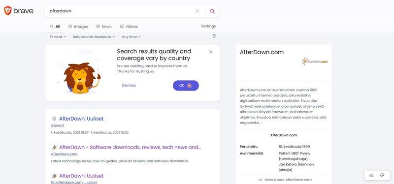 Brace Search näyttää tietolaatikon muodossa tuloksia hausta oikealla puolella