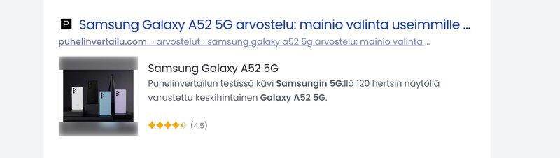 monipuolinen hakutulos galaxy a52 5g arvostelusta hakukoneessa