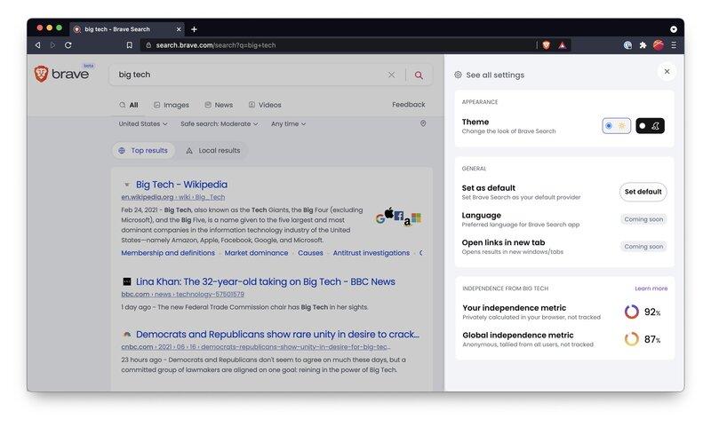 Brave Search hakukoneen hakutulosten riippumattomuus numeroina