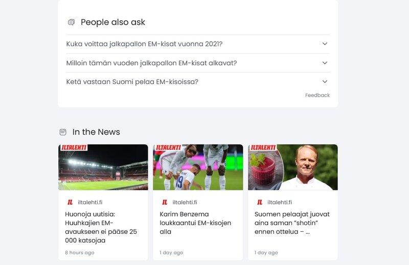 Hakukone näyttämässä tietoa em-kisoista kysymyslaatikolla ja uutiskarusellin muodossa