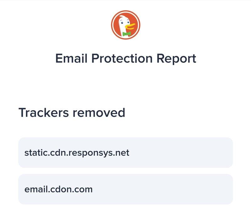duckduckgon sähköpostisuojaus ilmoittaa lisätietoa poistetuista seuraimista