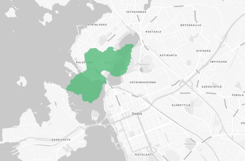 Elisan 5G-verkon kattavuus Vaasassa vuoden 2019 lopulla