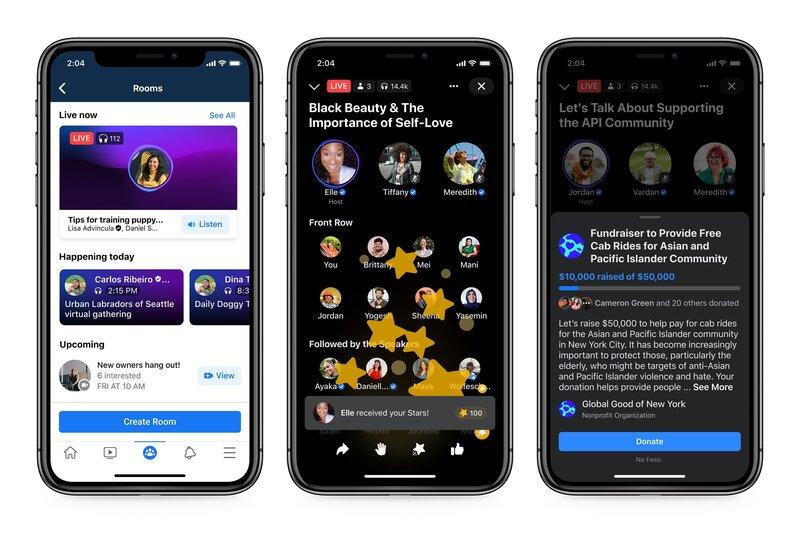 Live audio rooms on facebookin vastaus clubhouselle