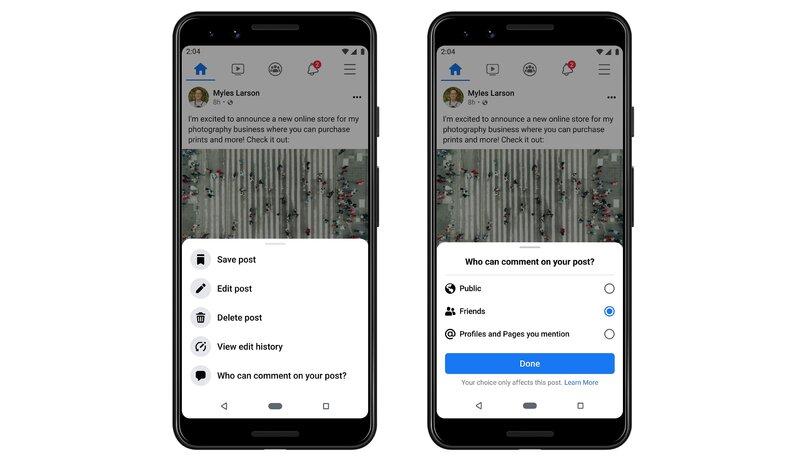 Käyttäjät voivat hallita kuka voi kommentoida julkaisuun