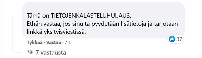 käyttäjän jättämä kommentti kertomassa kalasteluhuijauksesta
