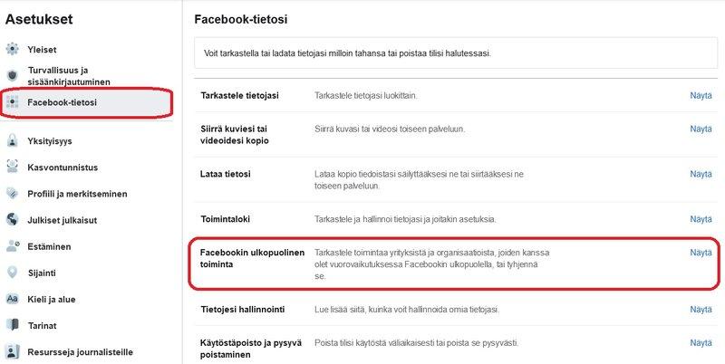 Facebookin ulkopuolisen toiminnan asetus selaimella
