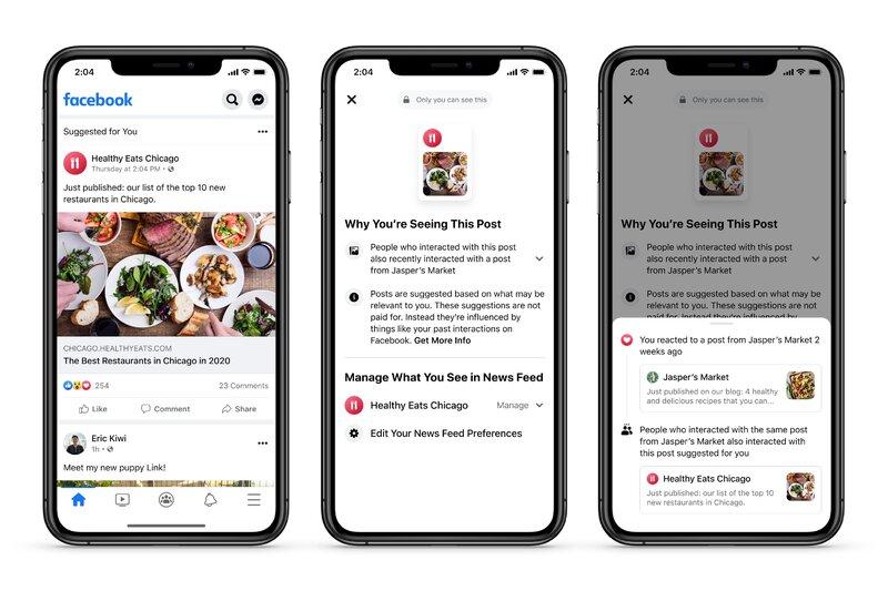 Facebook antaa nyt enemmän tietoa miksi näet tietyn julkaisun