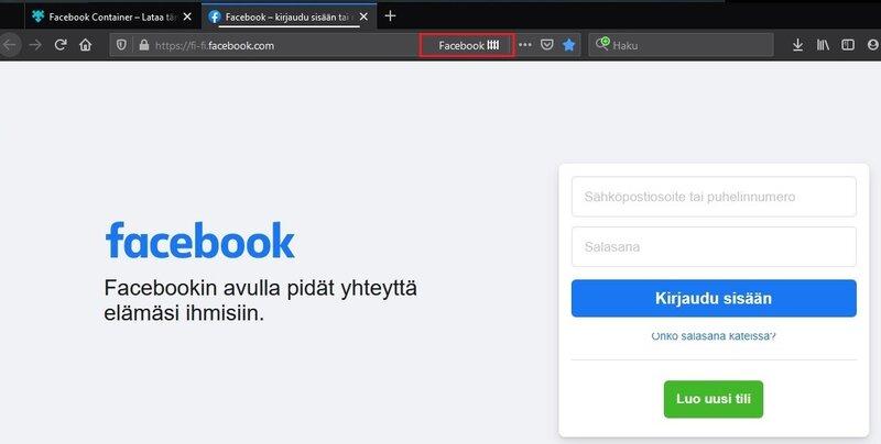 Facebook container eristää Facebookin omaan välilehteen