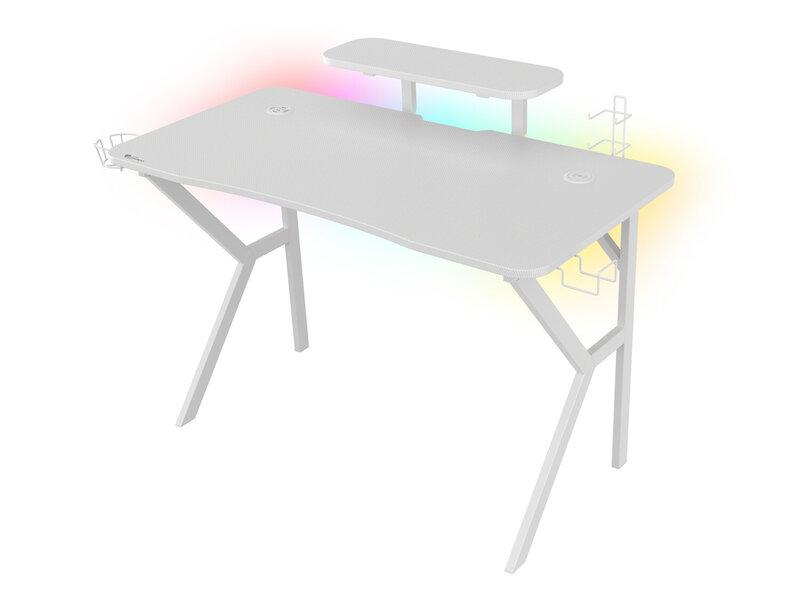 valkoinen HOLM 320 RGB pelipöytä rgb valaistuksen kanssa
