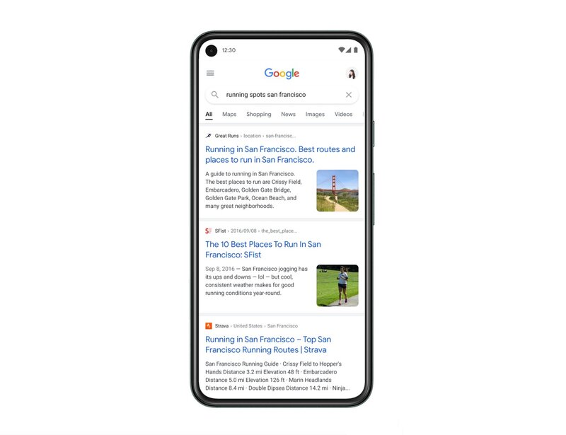 Esimerkki Googlen mobiilihaun uudesta ulkoasusta