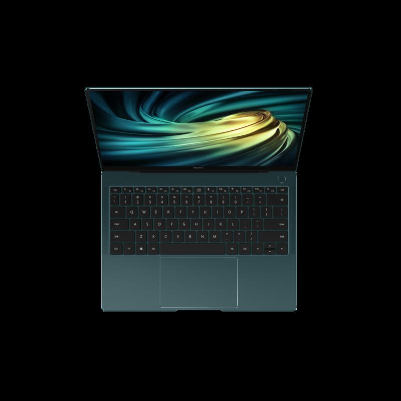Matebook X Pro 2020 vihreässä värissä ylhäältä kuvattuna