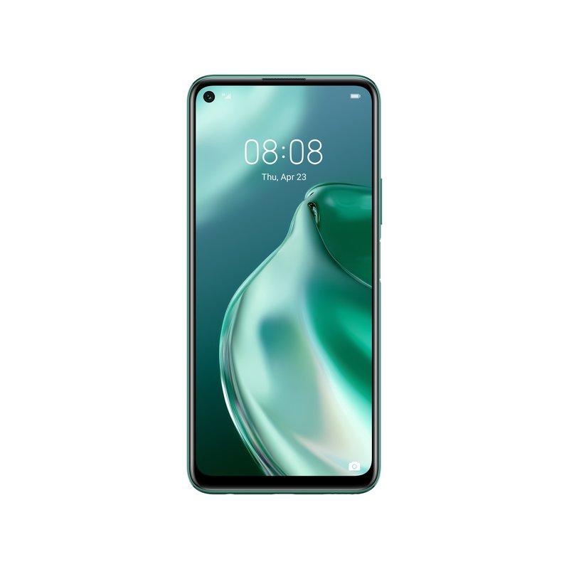 Huawei P40 Lite 5G edestä kuvattuna vihreässä värissä