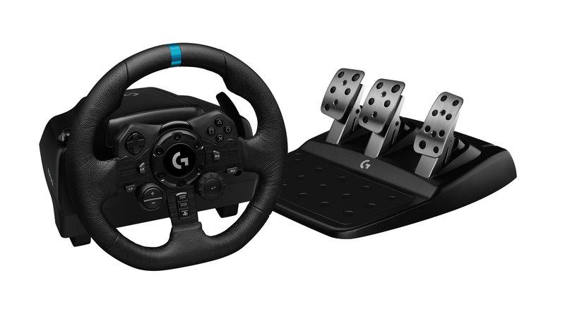 G923 rattiohjain polkimien kanssa PlayStationin painikkeilla