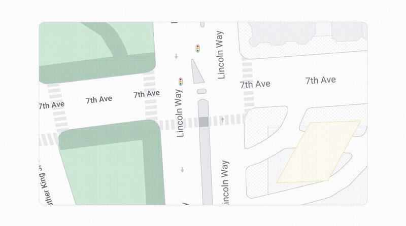 Mapsin yksityiskohtainen katukarttanäkymä