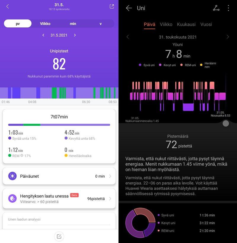 Mi Fitin ja Huawei Healthin antamat lukemat unesta samasta yöstä