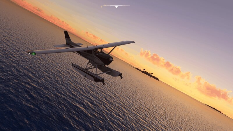Vesilaskeutuminen Microsoft Flight Simulator pelissä