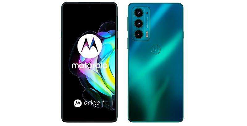 Motorola edge 20 edestä ja takaa vihreässä värissä