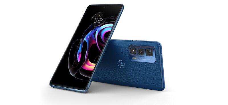 Motorola edge 20 pro tekonahkaisessa sinisessä värissä