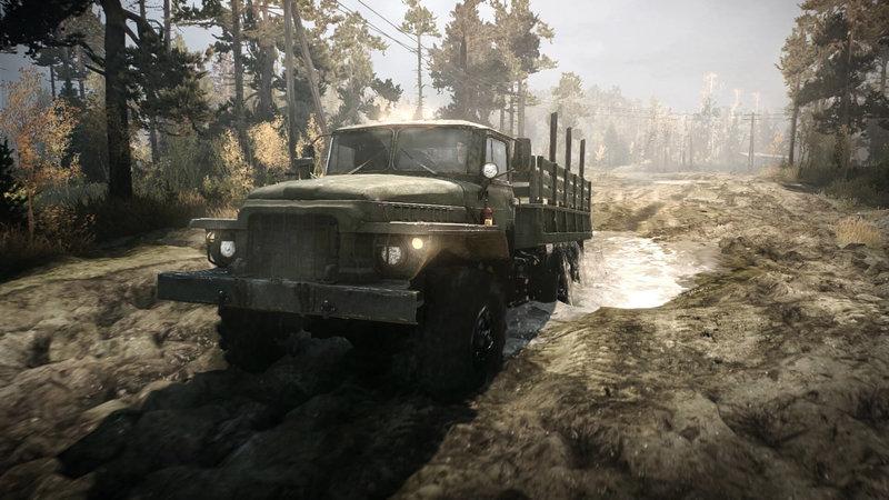 kuvakaappaus MudRunner pelin ajoneuvosta mudassa
