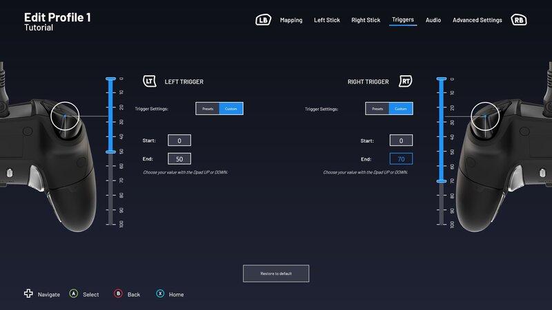 Revolution X Pro Controller ohjaimen liipaisinpainikkeiden säätäminen sovelluksessa