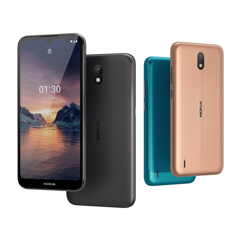 Nokia 1.3 puhelimen värivaihtoehdot ovat syaani, hiekanruskea ja hiilenharmaa