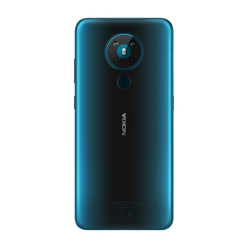 Nokia 5.3 takaa löytyy neljä kameraa ja sormenjälkilukija