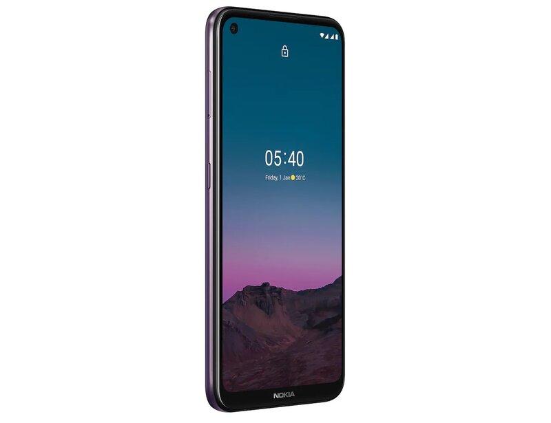 Nokia 5.4 puhelimen etupuolella on 6,39-tuumainen näyttö