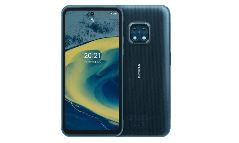 Nokia XR20 edestä ja takaa sinisessä värissä